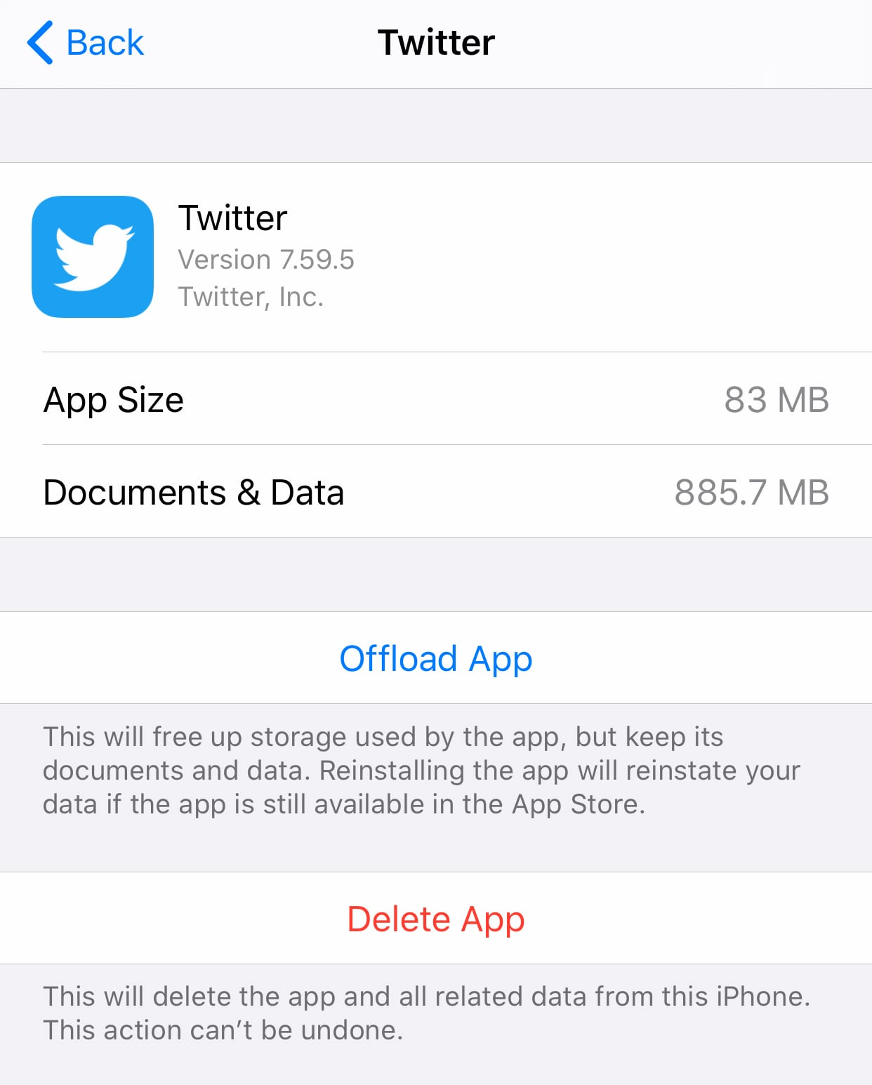 Amount of storage required by the Twitter app on iOS