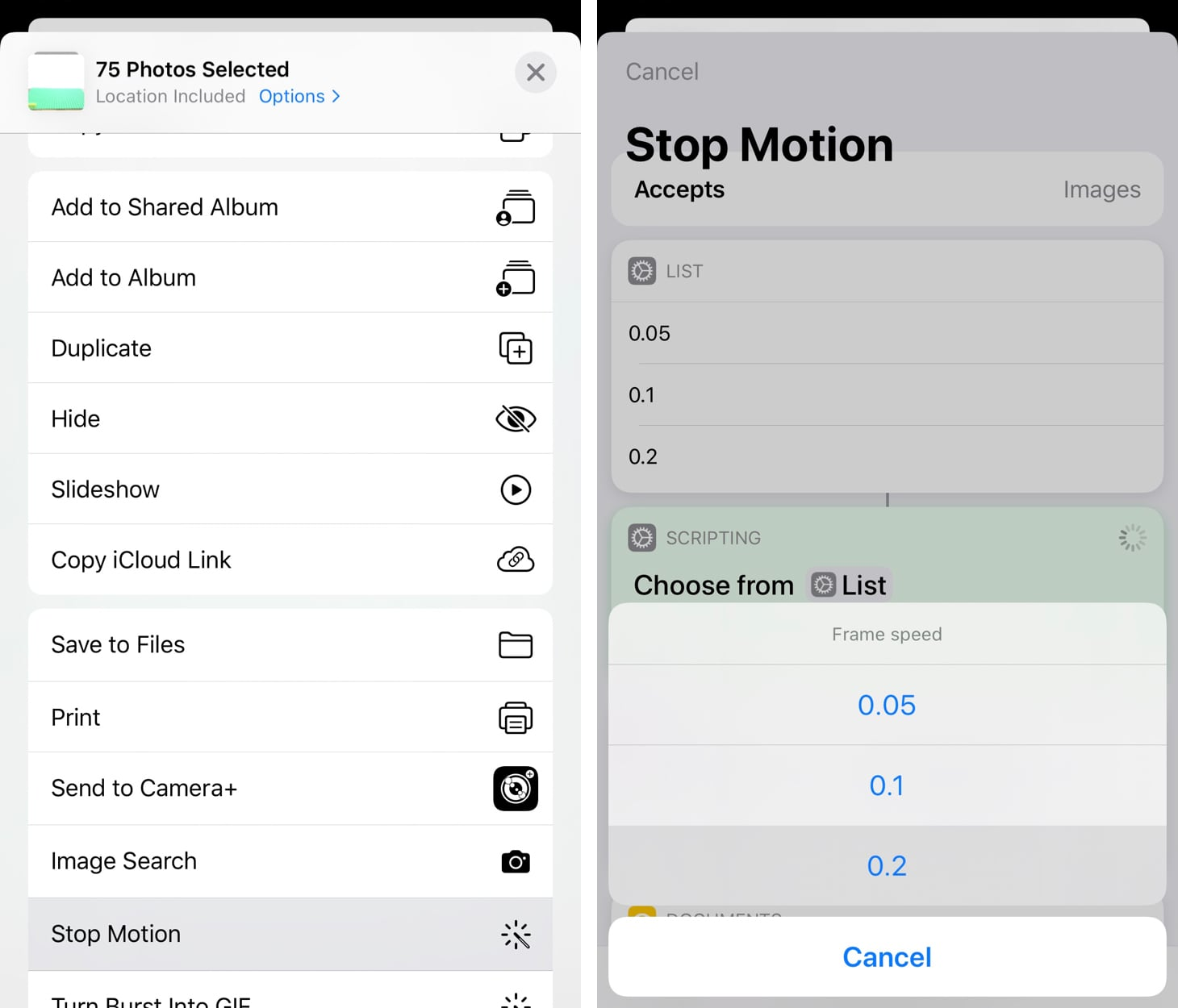 Start stop motion shortcut