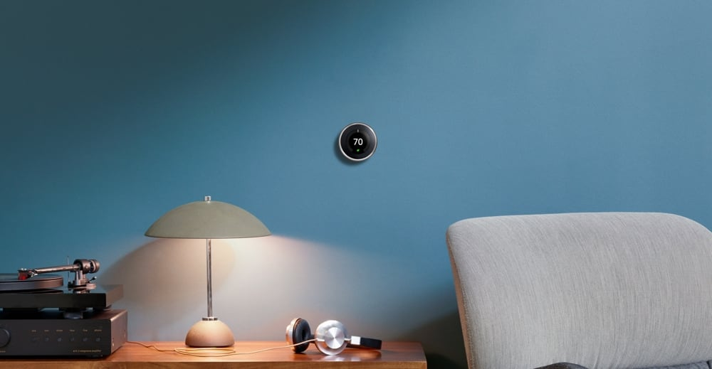 Nest thermostat mounted on a wall