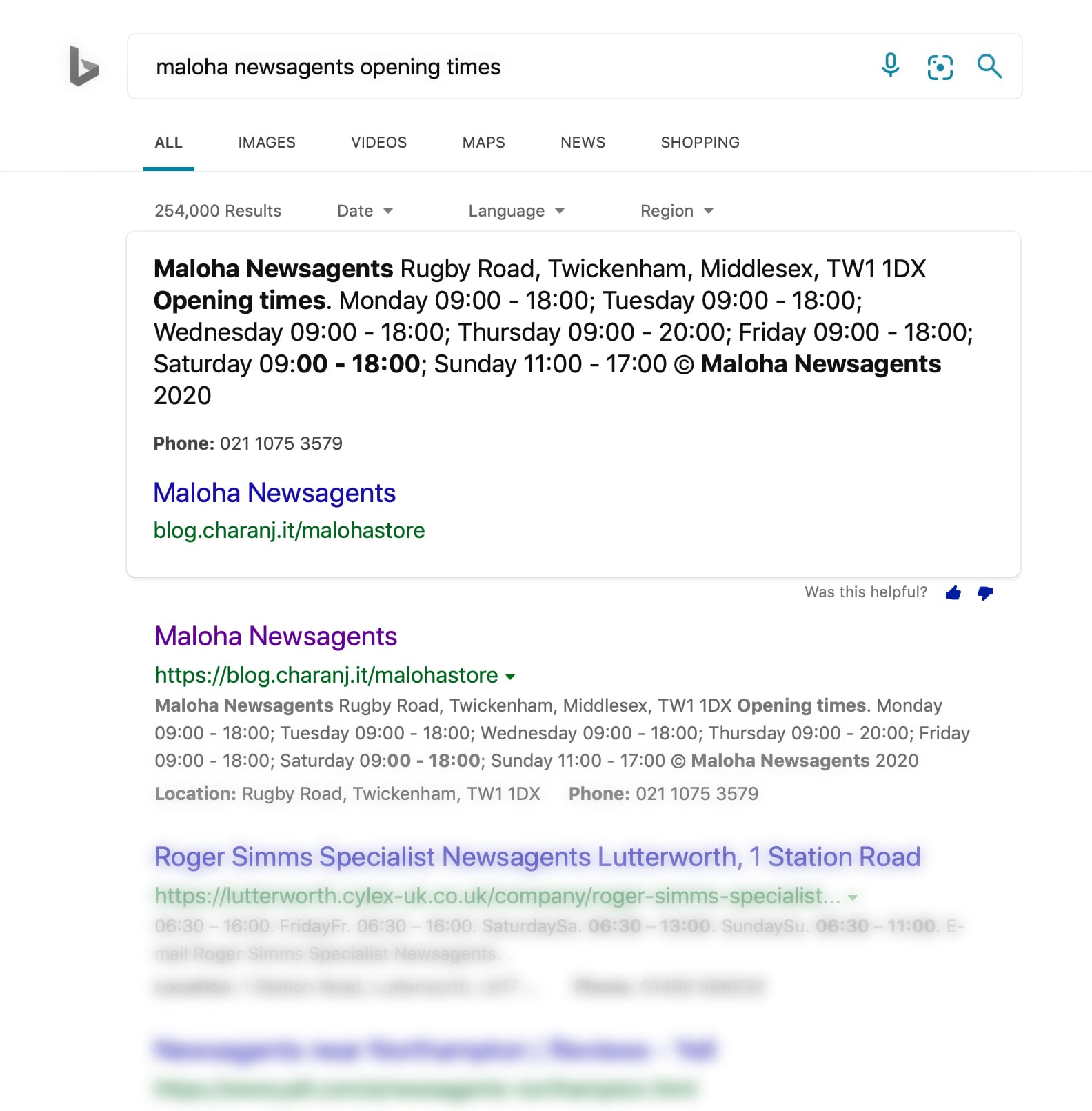 Bing desktop search results