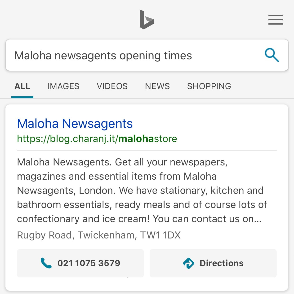 Bing mobile search results