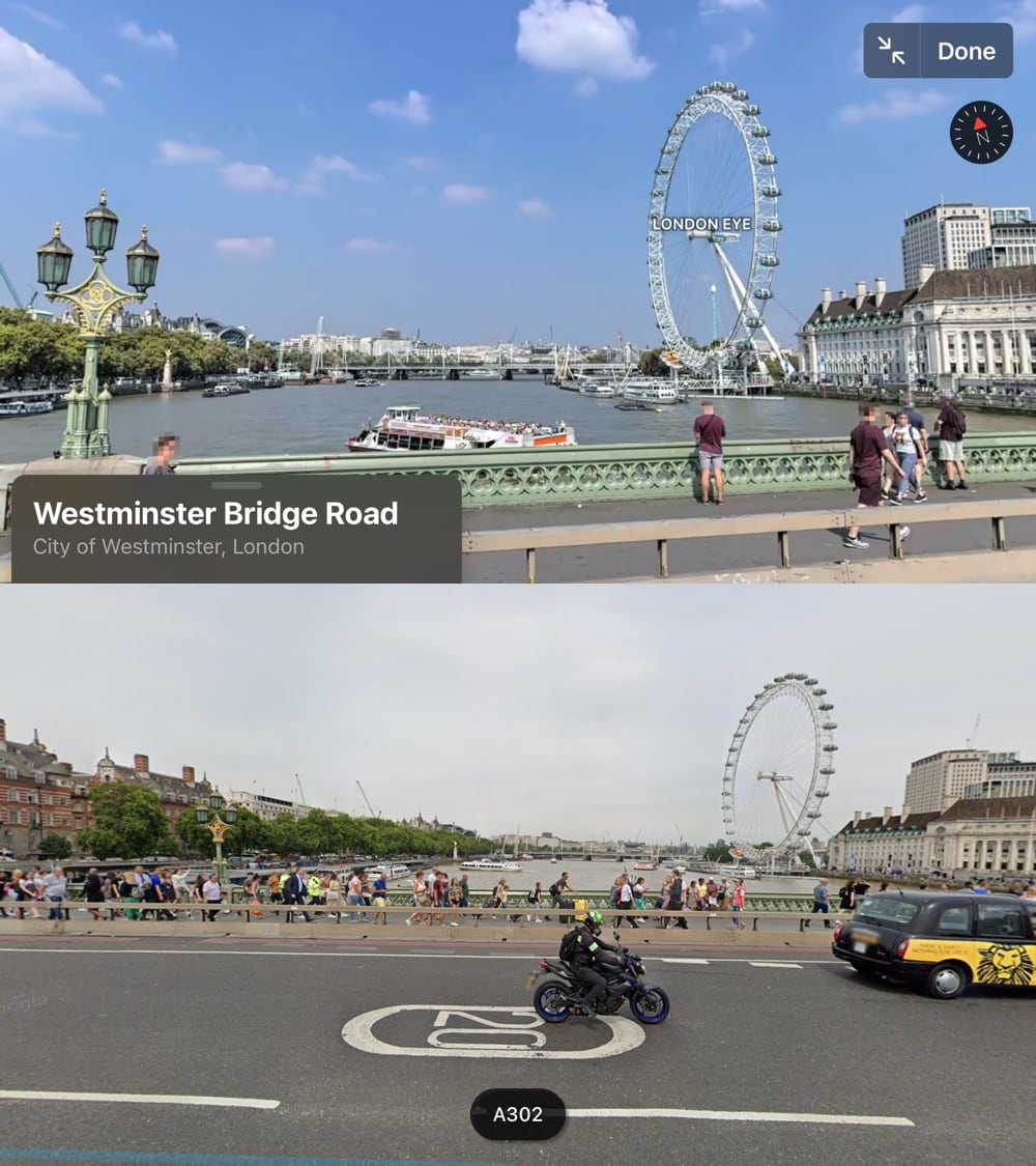 Comparing the view of the London Eye from Westminster Bridge in Apple Maps and Google Maps