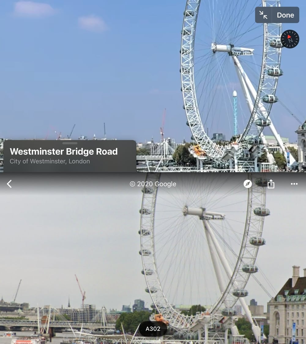 Comparing the view of the London Eye from Westminster Bridge, zoomed in as much as possible in Apple Maps and Google Maps