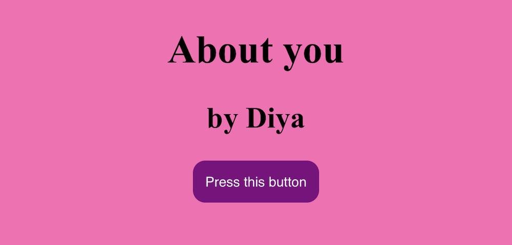 Diya's first website, 2021