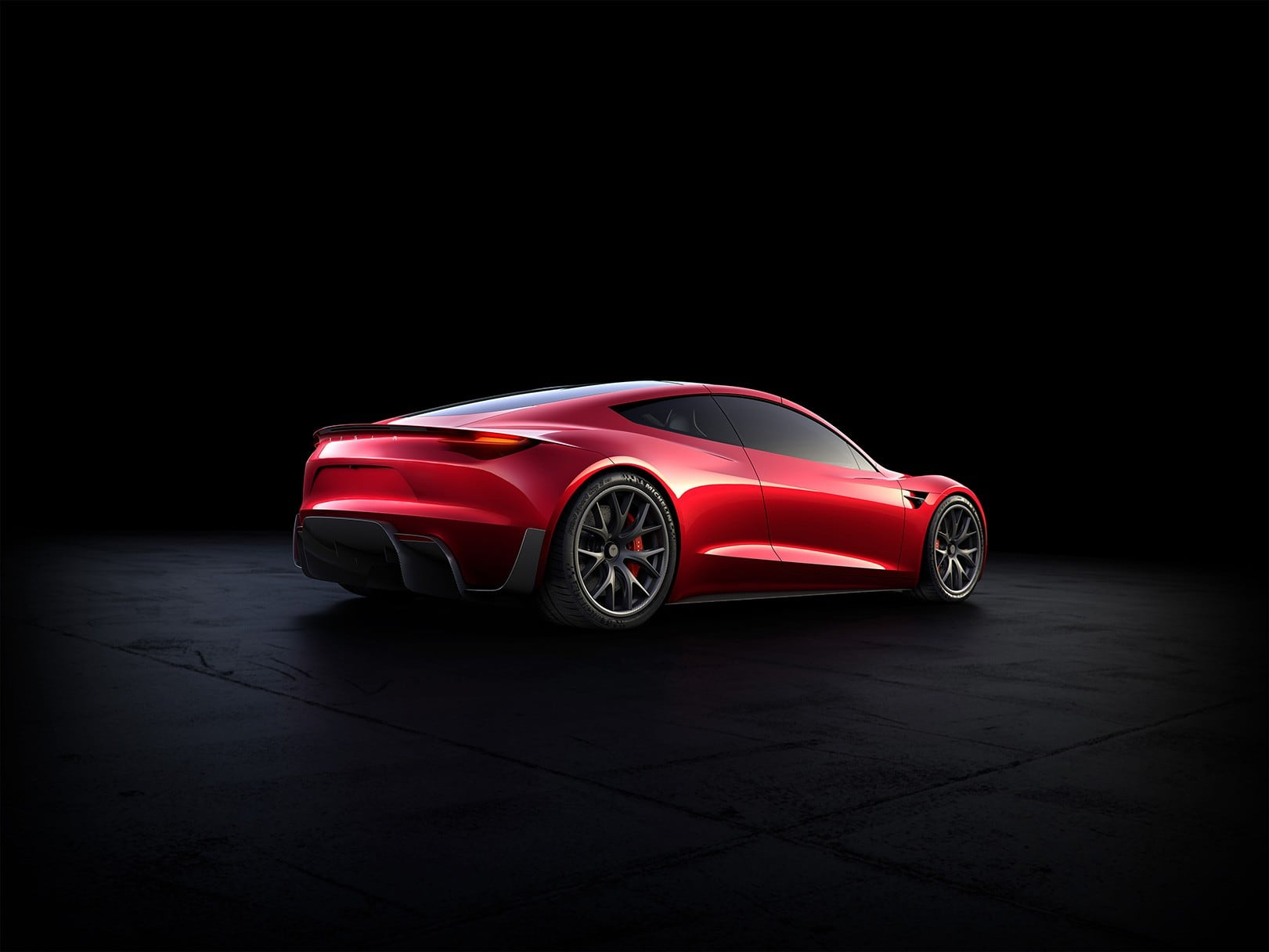 Rear view of the Tesla Roadster 2020