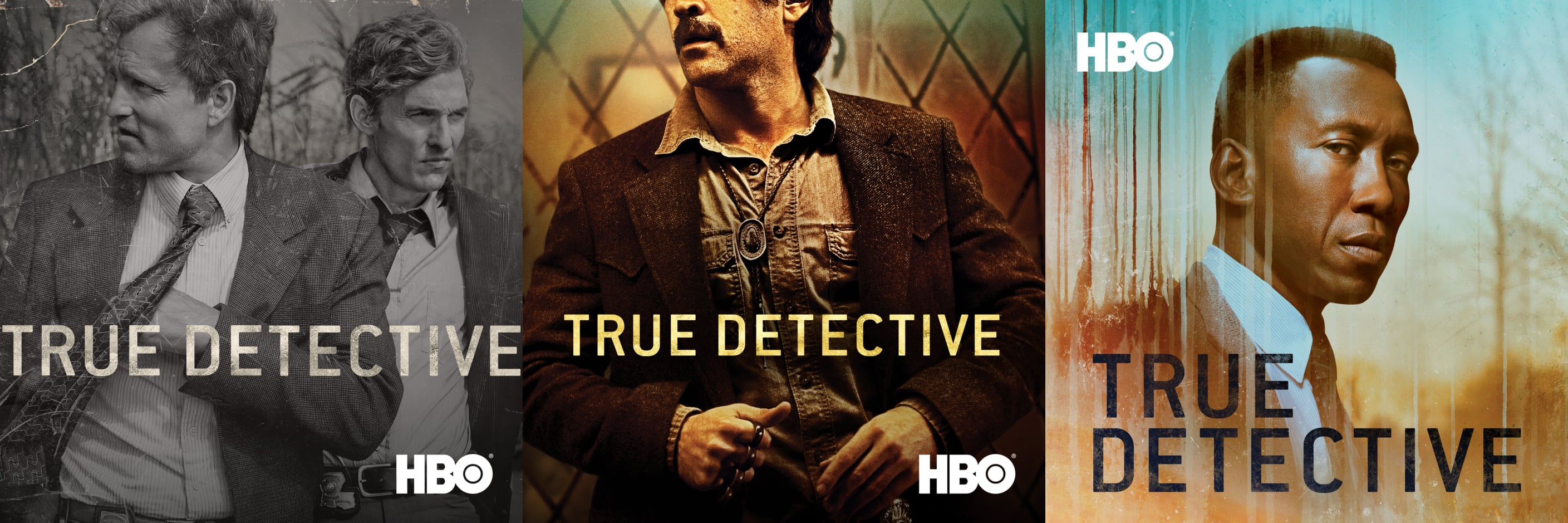 True Detective artwork for all three seasons