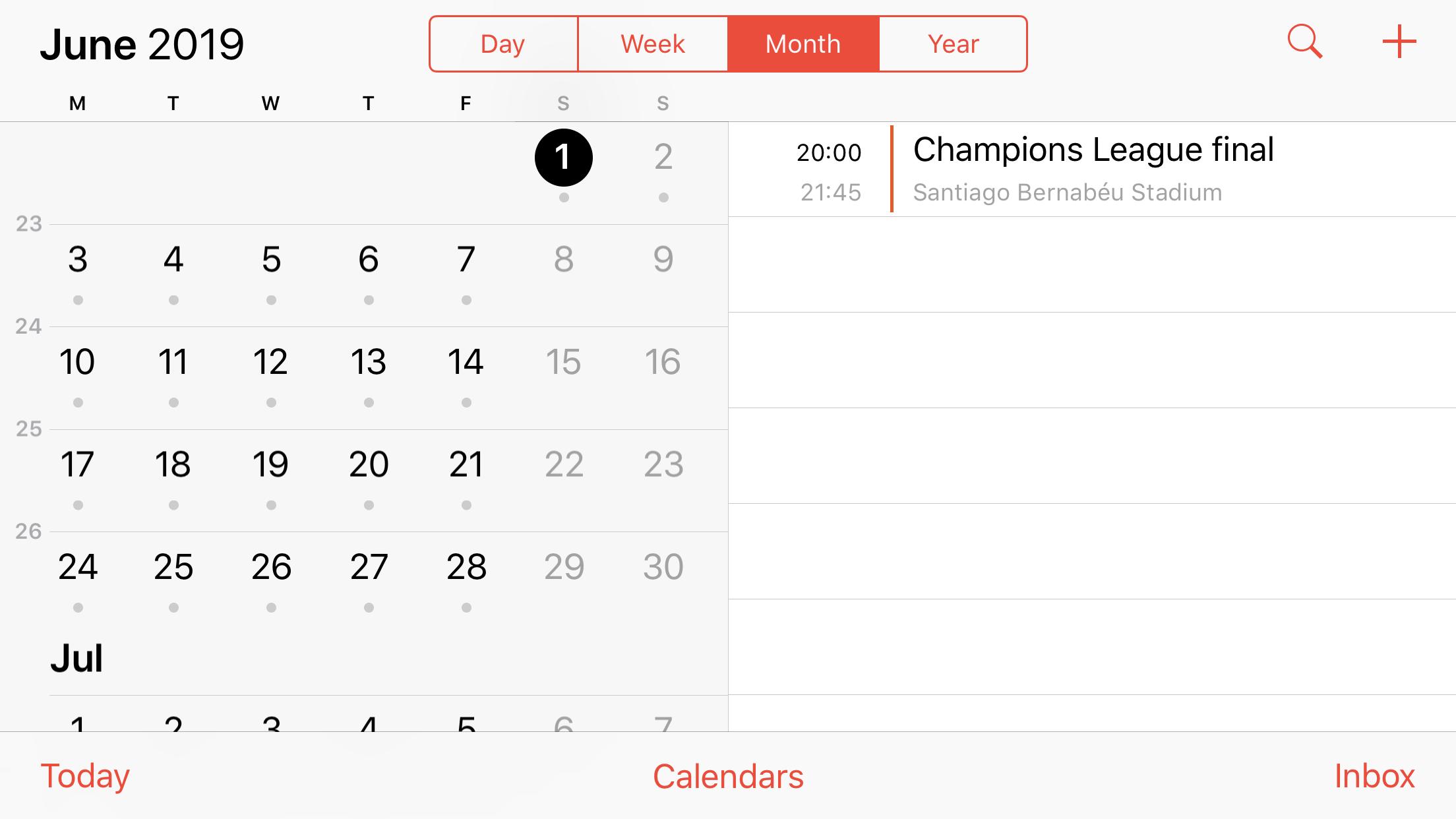 Calendar landscape UI