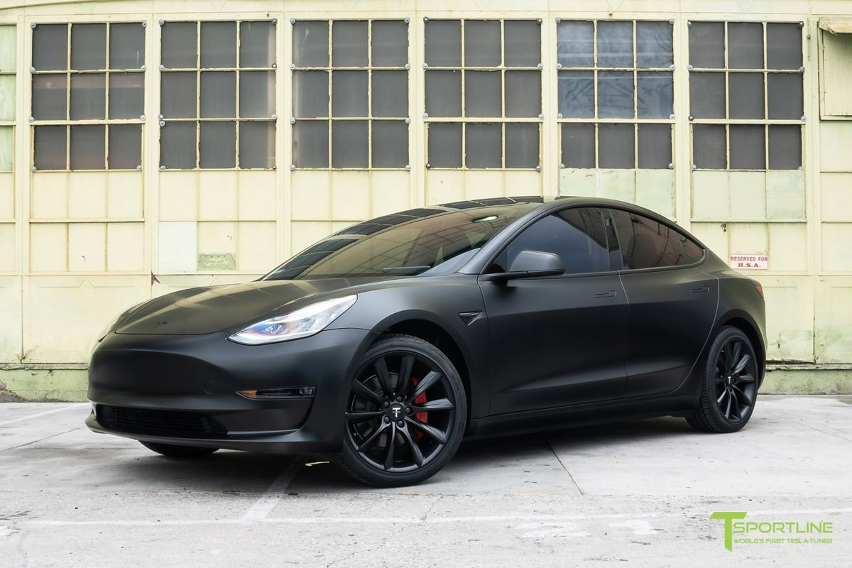 Model 3 wrapped in matte black